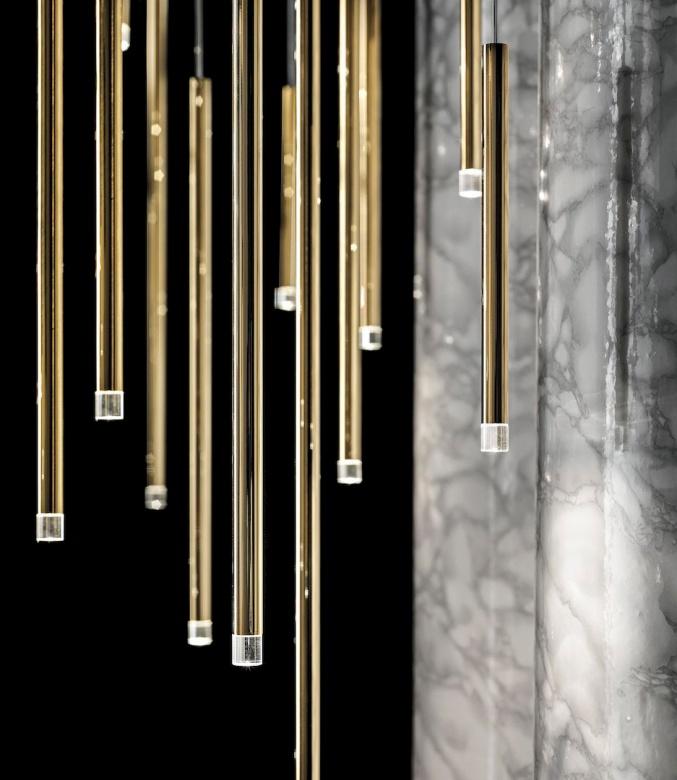 Pendelleuchte A-Tube Nano gold Studio Italia Eggers Einrichten Interior Design Muenchen