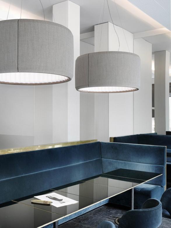 Pendelleuchte-Deckenleuchte grau Schirm Silenzio Luceplan Eggers Einrichten Interior Design Muenchen