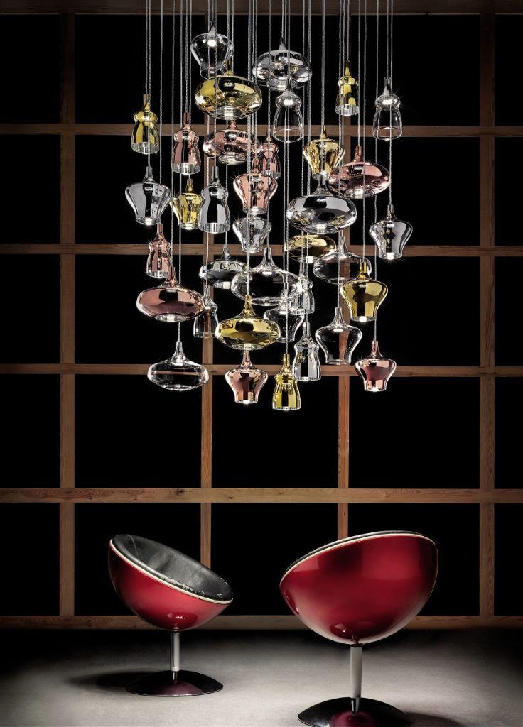 Pendelleuchte Designerleuchte Studio Italia Nautilus modern chrom gold rose Eggers Einrichten Interior Design Muenchen