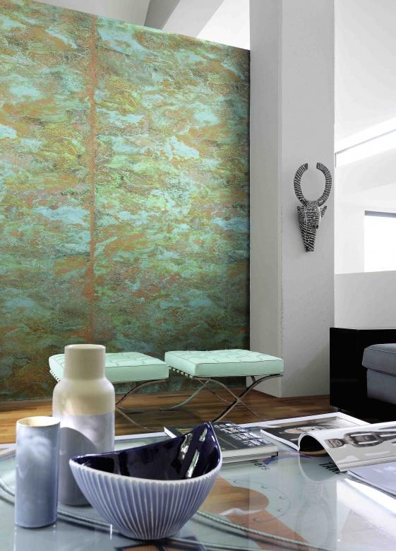 Wandgestaltung-Tapete-gruen-tuerkis-orange-Elitis-Eggers-Einrichten-Interior-Design-Muenchen-X