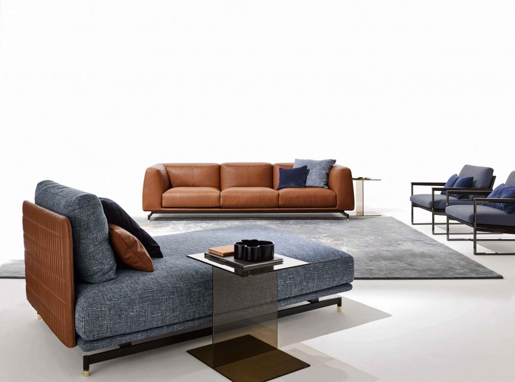 29 Wohnzimmer Sofa StGERMAIN Ditre Italia Blau Cognac Modern Beistelltisch  Metall Eggers Einrichten Interior Design Muenchen