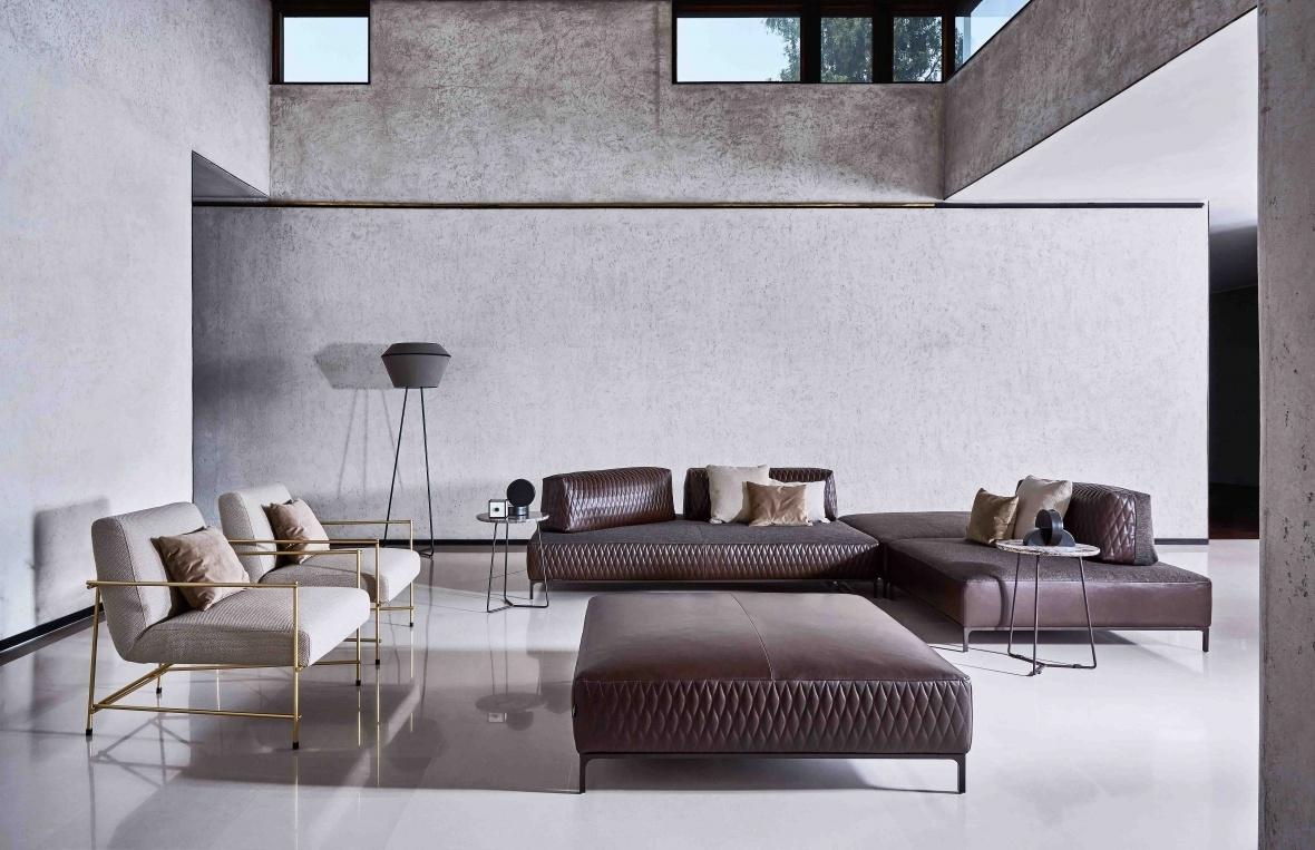 22 Wohnzimmer Ditre Italia Sofa Lila Hocker Sessel SANDERS AIR Grau Gold  Modern Eggers Einrichten Interior