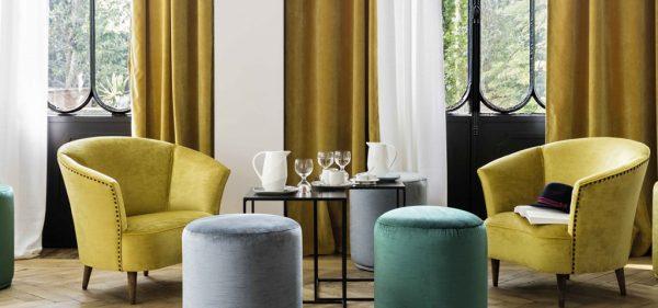 Vorhang Gardinen Store Elitis gelb modern Eggers Einrichten Interior Design Muenchen